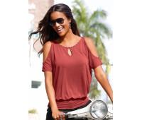 Женская пляжная футболка Lascana 52/54 марсала (12445600928444)